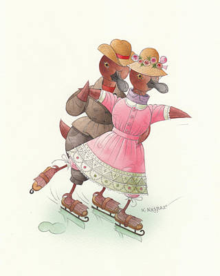 Drawing - Ducks On Skates 03 by Kestutis Kasparavicius