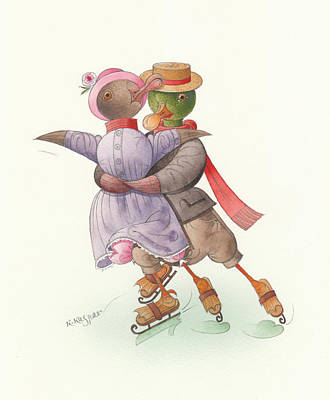 Violet Drawing - Ducks On Skates 05 by Kestutis Kasparavicius