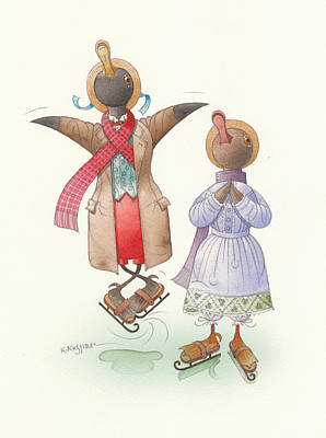 Violet Drawing - Ducks On Skates 06 by Kestutis Kasparavicius