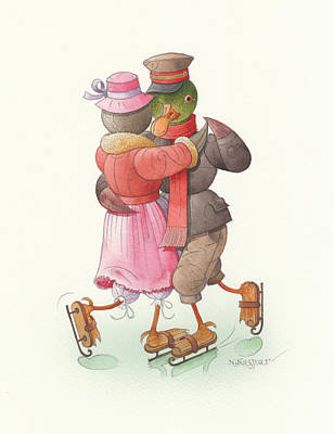 Painting - Ducks On Skates 09 by Kestutis Kasparavicius