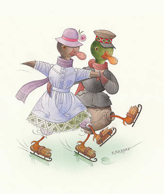 Violet Drawing - Ducks On Skates 10 by Kestutis Kasparavicius
