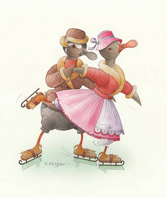 Painting - Ducks On Skates 12 by Kestutis Kasparavicius