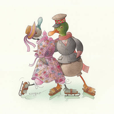 Violet Drawing - Ducks On Skates 14 by Kestutis Kasparavicius