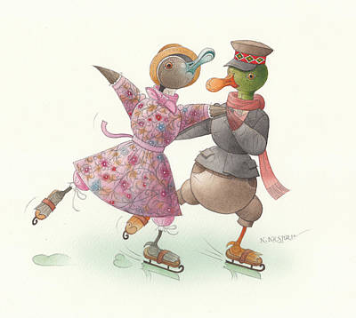 Violet Drawing - Ducks On Skates 16 by Kestutis Kasparavicius