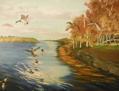 Waterfowl Painting - Ducks On The Lake by Thomas Zimmerman