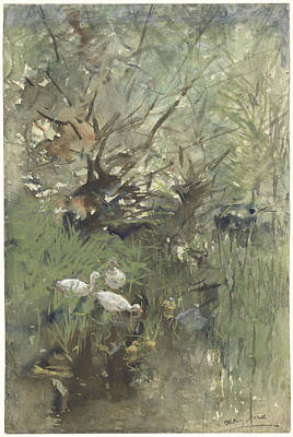 Ducks In Watercolor Painting - Ducks Under The Willows by J Beek