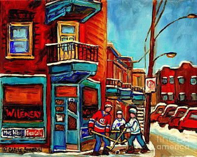 Duddy Kravitz Painting - Duddy Kravitz Ate Here Wilensky Corner Deli Boys Hockey Art Montreal Winter City Scene Cspandau by Carole Spandau