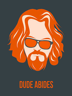 Walter Digital Art - Dude Abides Orange Poster by Naxart Studio