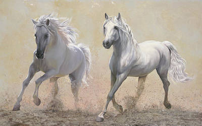 Animals Royalty-Free and Rights-Managed Images - Due Cavalli by Guido Borelli