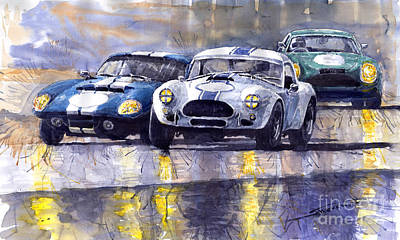 Cobra Painting - Duel Ac Cobra And Shelby Daytona Coupe 1965 by Yuriy  Shevchuk