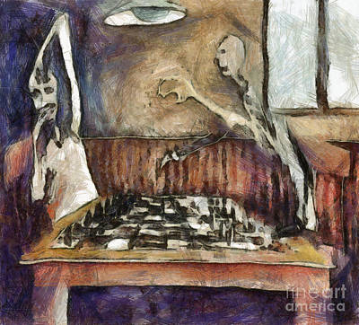 Duel Of The Chess Players Art Print by Michal Boubin