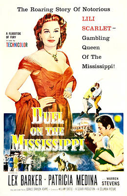 1955 Movies Photograph - Duel On The Mississippi, Us Poster by Everett