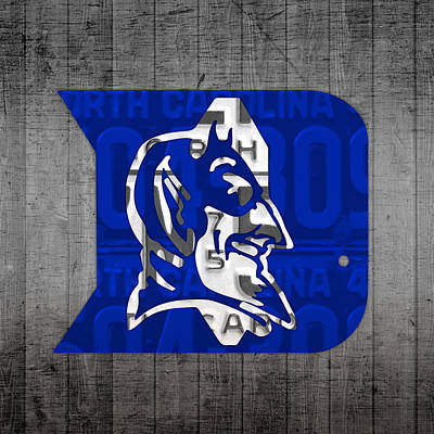 Blue Mixed Media - Duke Blue Devils College Sports Team Retro Vintage Recycled North Carolina License Plate Art by Design Turnpike