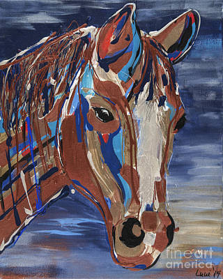 Pottery Barn Painting - Duke  Blue Gold Quarter Horse  by Lucie Barry-Punches