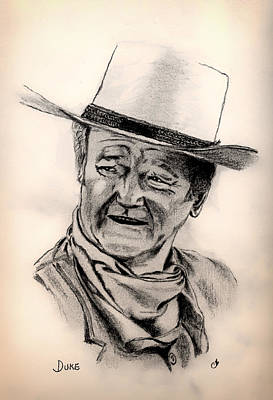John Wayne Drawings Drawing - Duke by Mountain Dreams