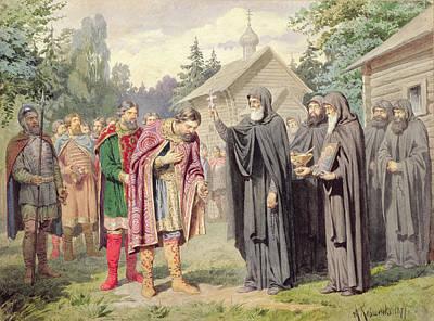 Found Wood Photograph - Duke Dimitry And St. Sergy At Redonezh Before Battle With Tartars, 1880 Wc On Paper by Aleksei Danilovich Kivshenko