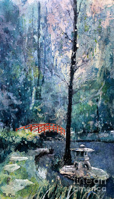 Painting - Duke Gardens Watercolor Batik by Ryan Fox