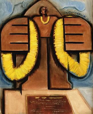 Painting -  Duke Kahanamoku Statue Art Print by Tommervik