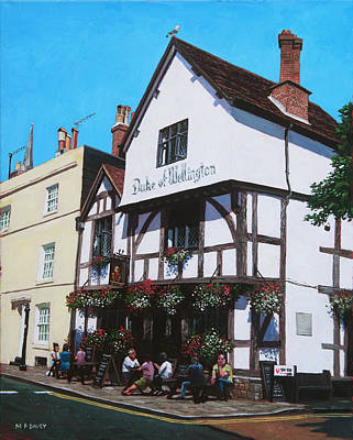 Hanging Baskets Painting - Duke Of Wellington Tudor Pub Southampton by Martin Davey