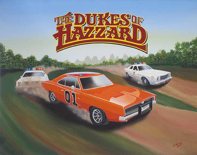 The General Lee Painting - Dukes Of Hazzard Chase by Gregory Murray