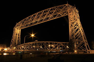 Duluth Digital Art - Duluth Bridge At Night by Donna Anderson