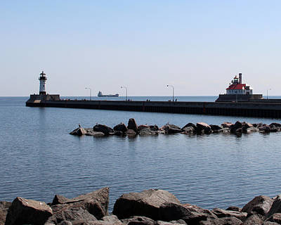 Photograph - Duluth Harbor Lighthouses  by George Jones
