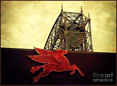 Photograph - Duluth Lift Bridge Mobile Oil Pegasus by Beth Ferris Sale