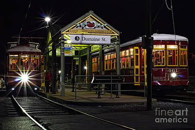 Dumaine St. Trolly In New Orleans Art Print by Kent Taylor