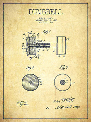 Digital Art - Dumbbell Patent Drawing From 1935 -vintage by Aged Pixel