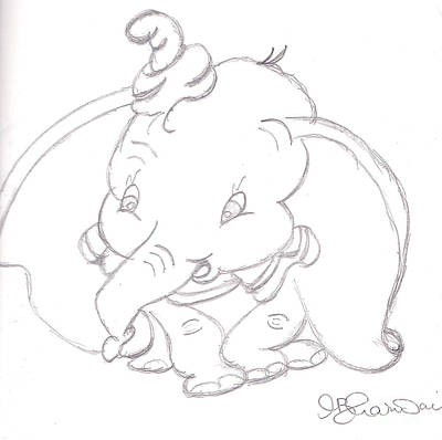 Walt Drawing - Dumbo by Melissa Vijay Bharwani
