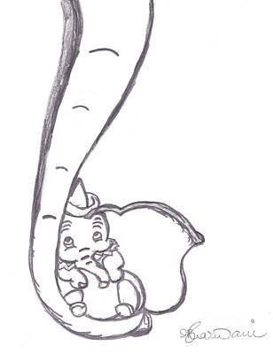 Dumbo With Mother  Art Print by Melissa Vijay Bharwani