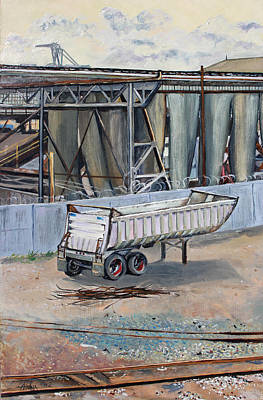 Art Print featuring the painting Dump Truck Bin And Steel Mill by Asha Carolyn Young