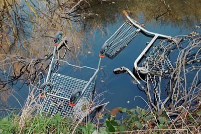 Dump Photograph - Dumped Shopping Trolleys by Frank M Hough