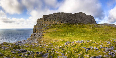 Photograph - Dun Aengus - Iron Age Ruins Coastal Panorama by Mark E Tisdale