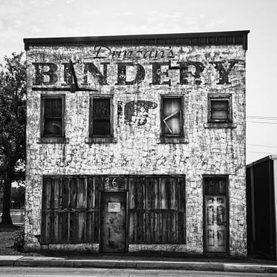 Duncan Bindery Building Front Black And White Art Print by David Waldo