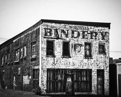 Duncan Bindery Building Profile Black And White Art Print by David Waldo