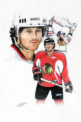 National Hockey League Drawing - Duncan Keith by Jerry Tibstra
