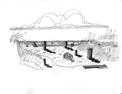 Dune Breached Ocracoke 1970 Art Print
