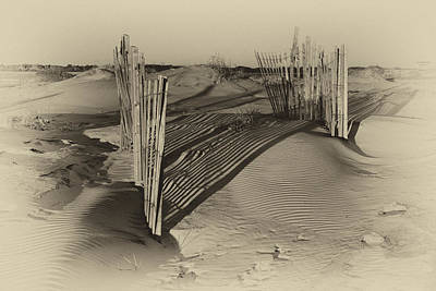 Photograph - Dune Erosion Fence Outer Banks Nc Antique Plate Img_3761 by Greg Kluempers
