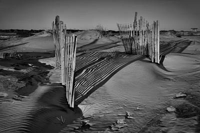 Photograph - Dune Erosion Fence Outer Banks Nc B And W Img_3761 by Greg Kluempers