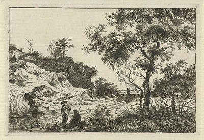 Dune Landscape With A Large Tree, A Woman At A Pool Art Print by Hermanus Fock