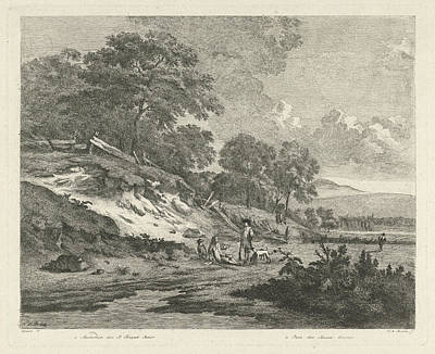 Dune Landscape With Resting Hunters Art Print by F.w. Musculus And Pierre Fouquet (jr.) And Basan