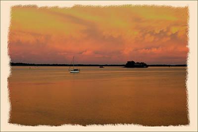 Dunedin Sunset Boat Art Print by Wynn Davis-Shanks