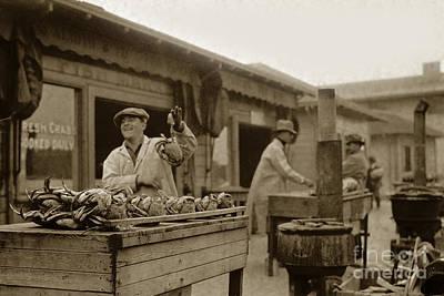 Photograph - Dungeness Crabs At Fisherman's Wharf At San Francisco California. Circa 1935 by California Views Archives Mr Pat Hathaway Archives