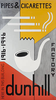 Factory Photograph - Dunhill Pipes & Cigarettes, 2013 Acrylic On Canvas by Carolyn Hubbard-Ford