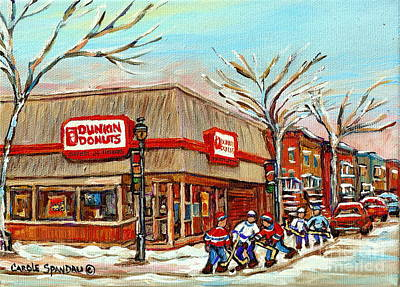 Dunkin Donuts Rue Wellington Verdun Montreal  Paintings Hockey Art Winter Street Scenes Cspandau  Art Print by Carole Spandau