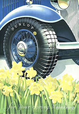 Drawing - Dunlop 1934 1930s Uk Tyres Daffodils by The Advertising Archives
