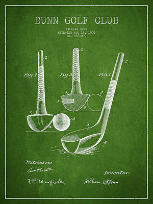 Sports Royalty-Free and Rights-Managed Images - Dunn Golf Club Patent Drawing from 1900 - Green by Aged Pixel