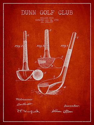 Sports Royalty-Free and Rights-Managed Images - Dunn Golf Club Patent Drawing from 1900 - Red by Aged Pixel