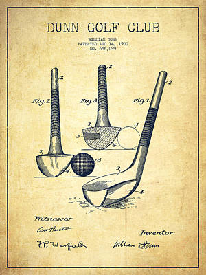 Ball Digital Art - Dunn Golf Club Patent Drawing From 1900 - Vintage by Aged Pixel